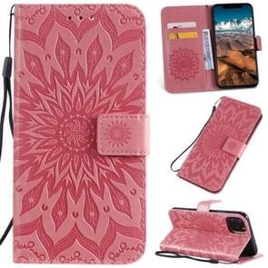Gedrukt afdrukken zonnebloem patroon horizontale Flip PU lederen case voor iPhone XI Max 2019  met houder & kaartsleuven & portemonnee & & Lanyard (roze)