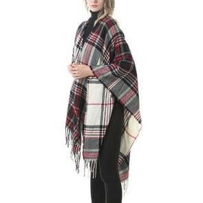 Mode klassieke Split geruite sjaal omzoomde verdikking imitatie kasjmier mantel (p26)