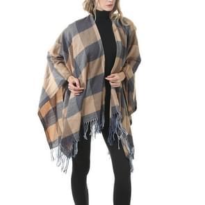 Mode klassieke Split geruite sjaal omzoomde verdikking imitatie kasjmier mantel (P30)