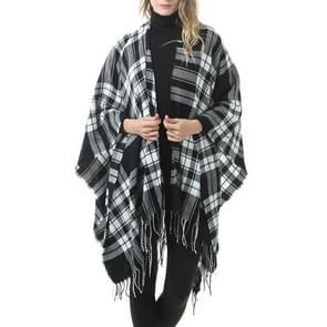 Mode klassieke Split geruite sjaal omzoomde verdikking imitatie kasjmier mantel (P727)