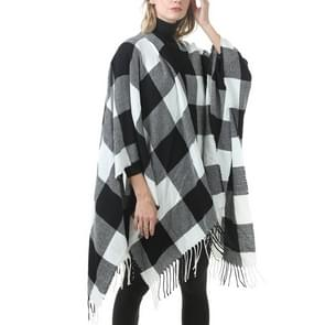 Mode klassieke Split geruite sjaal omzoomde verdikking imitatie kasjmier mantel (P397)