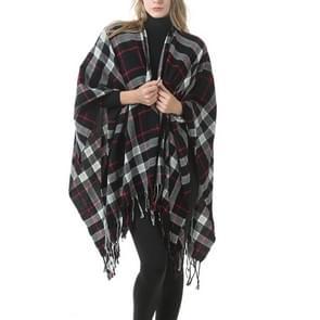 Mode klassieke Split geruite sjaal omzoomde verdikking imitatie kasjmier mantel (P394)