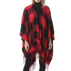 Mode klassieke Split geruite sjaal omzoomde verdikking imitatie kasjmier mantel (P398)