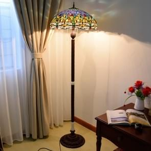 YWXLight Stained Glass Lampshade Living Room Dining Room Bar Decoration Floor Lamp (EU Plug)