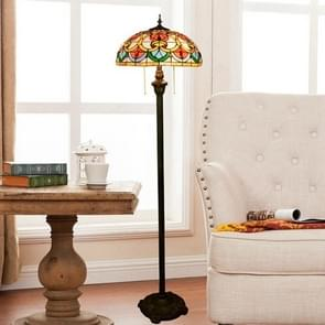 YWXLight Creative Stained Glass Lampshade Floor Lamp Living Room Dining Room Bedroom Bedside Decoration Lamp (EU Plug)