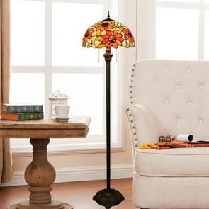 YWXLight Sun Flower Bronze Floor Lamp Unique Glass Mosaic Lampshade Living Room Dining Room Bedroom Decoration Lamp (EU Plug)