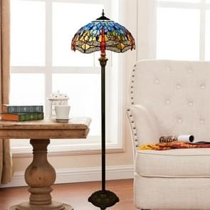 YWXLight Mediterranean Stained Glass Mosaic Art Lampshade Creative Retro Living Room Dining Room Floor Lamp Decorative Light (EU Plug)