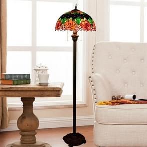 YWXLight Vintage Rose Floor Lamp Colored Glass Shade Living Room Restaurant Bar Decoration Light (EU Plug)