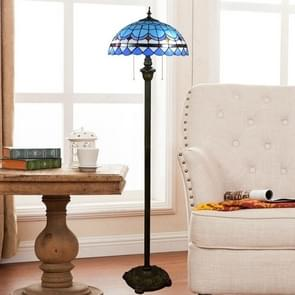 YWXLight Mediterranean Vintage Stained Glass Lampshade Dining Room Bedroom Living Room Bedside Floor Lamp (EU Plug)