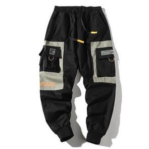 Multi-zakken losse taille en kleine voeten casual jeugd trend wilde overalls voor mannen (kleur: zwart grijs maat: M)