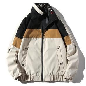 Stand kraag casual wild stiksels brief borduurwerk jas voor mannen (kleur: wit maat: M)