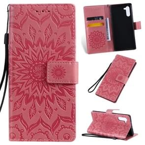 Pressed Printing Sunflower Pattern Horizontal Flip PU Leather Case for Galaxy Note 10, with Holder & Card Slots & Wallet & Lanyard (Pink)