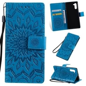 Pressed Printing Sunflower Pattern Horizontal Flip PU Leather Case for Galaxy Note 10, with Holder & Card Slots & Wallet & Lanyard (Blue)