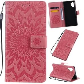 Pressed Printing Sunflower Pattern Horizontal Flip PU Leather Case for Galaxy Note 10+ / Note 10 Pro, with Holder & Card Slots & Wallet & Lanyard (Pink)