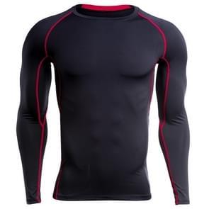 SIGETU heren lange mouw sneldrogende sportkleding (kleur: zwart rood maat: M)