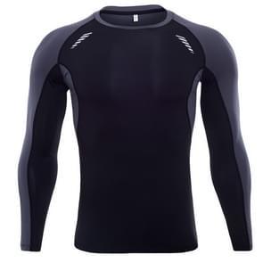 SIGETU heren elastische lange mouwen workout sportwear (kleur: zwart grijs maat: S)