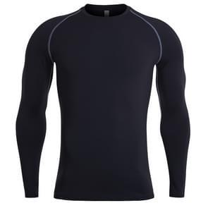 SIGETU heren sneldrogende lange mouwen elastische sportwear (kleur: zwart maat: XL)