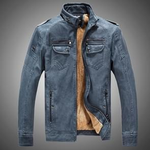 Mannen plus Velvet losse lederen jas jas (kleur: blauw maat: XXL)