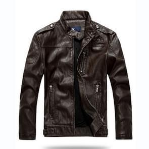 Mannen plus Velvet motorfiets jas jas (kleur: koffie maat: 4XL)