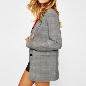 Vrouwen casual losse één-knop geruite pak (kleur: grijs maat: S)
