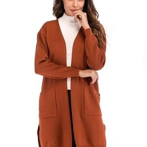Solid Color Wild Long Sweater(Color:Caramel Size:XL)
