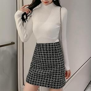 Half-high Collar Pullover Long-sleeved Knit Bottoming Shirt (Color:White Size:S)