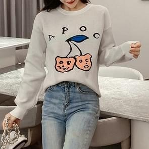 Loose Long Sleeve Knit Sweater (Color:White Size:M)