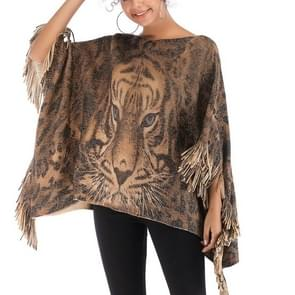 Fringed Long Print Sweater(Color:As Show Size:One Size)