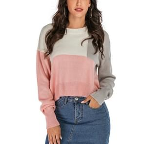 Fashion Rainbow Knit Sweater (Color:Pink Size:S)
