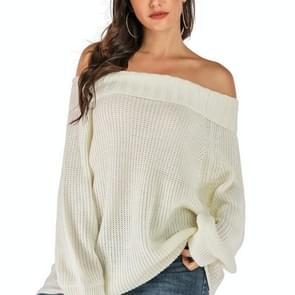 Fashion Wild Loose Collar Sweater (Color:White Size:S)