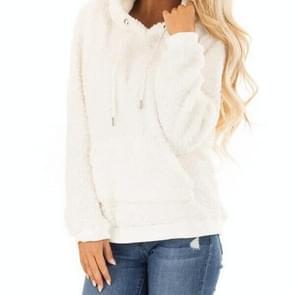 Warme pluche Pullover jas Hooded sweater met zak (kleur: wit maat: S)