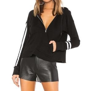 Hooded sweater met lange mouwen losse effen kleur lint (kleur: zwart maat: S)
