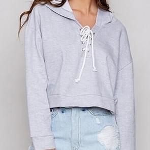 Hoodie sweater in kant met lange mouwen (kleur: grijs maat: S)
