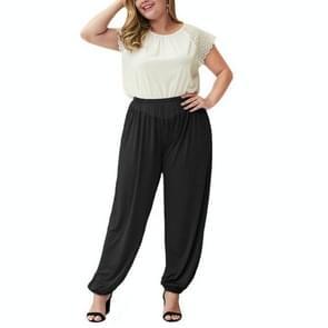 Effen kleur elastische taille broek losse geplooide casual broek (kleur: zwart maat: XL)