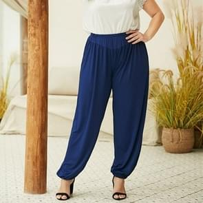 Effen kleur elastische taille broek losse geplooide casual broek (kleur: blauw maat: L)