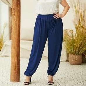 Effen kleur elastische taille broek losse geplooide casual broek (kleur: blauw maat: XXXXL)