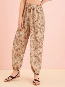 Printed High-waisted Carrot Trousers(Color:As Show Size:XL)