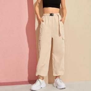 Vrouwen Pocket riem broek (kleur: kaki maat: XL)