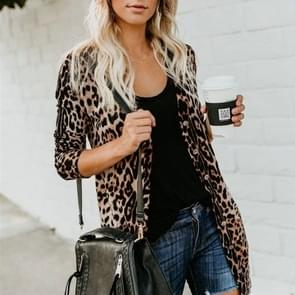 Sexy V-hals met lange mouwen knop Luipaard gedrukte vacht (kleur: koffie maat: S)