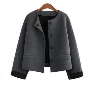 Ronde hals losse kleine geur korte wollen jas (kleur: grijs maat: M)