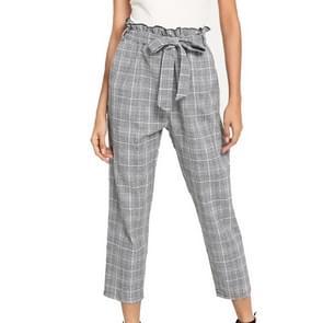 Geruite riem Fashion casual broek (kleur: licht grijs maat: S)