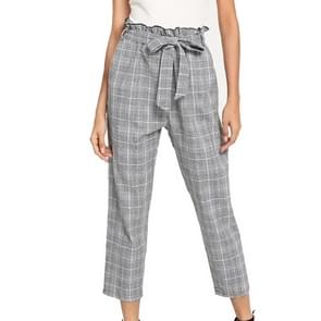 Geruite riem Fashion casual broek (kleur: licht grijs maat: L)
