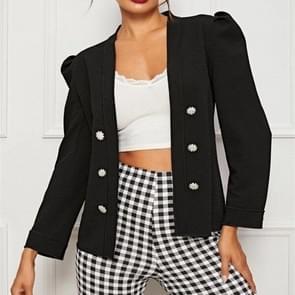 Double-breasted gepofte mouwen jas (kleur: zwart maat: S)