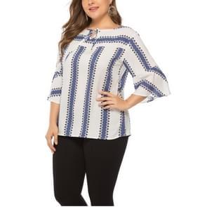Groot formaat vrouwen Lace-up mouwen top (kleur: blauw maat: XL)