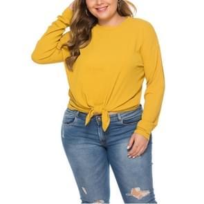 Zoom effen lange mouwen losse Gebreide top (kleur: geel maat: XL)
