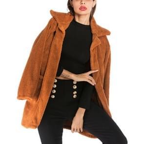 Lange sectie fleece casual revers wollen jas (kleur: Camel maat: S)