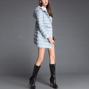 Losse Hooded lange stijl jas donsjack (kleur: blauw maat: M)