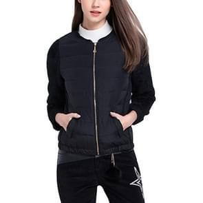 Korte stiksels lange mouwen gewatteerde jas (kleur: zwart maat: XL)