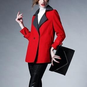 Temperament revers wollen jas (kleur: rood maat: XL)