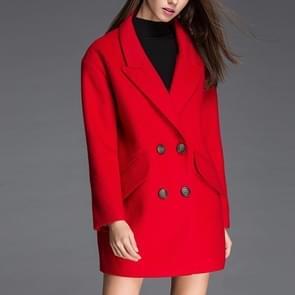 Mode effen kleur lange mouwen pak kraag wollen jas (kleur: rood maat: XL)